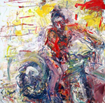 Man on Bike, 2006, oil/linen, 70x70""
