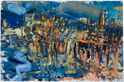 Town Dock, Cranberry Island #2, 2007, oil/canvas, 26x40""